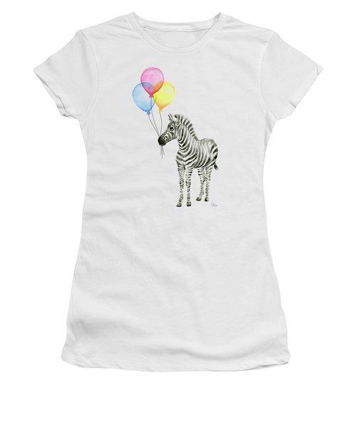 Zebra With Balloons Watercolor Whimsical Animal Women's T-Shirt (Junior Cut) by Olga Shvartsur
