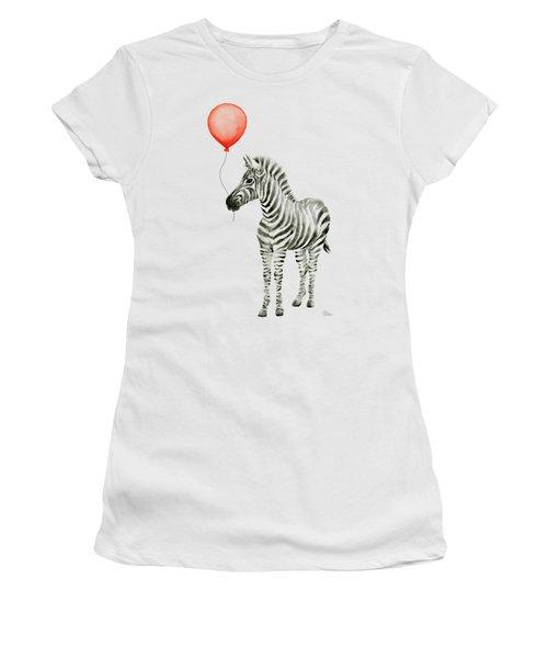 Zebra With Red Balloon Whimsical Baby Animals Women's T-Shirt (Junior Cut) by Olga Shvartsur