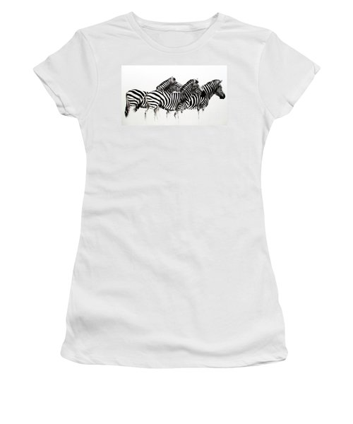 Zebras - Black And White Women's T-Shirt (Athletic Fit)