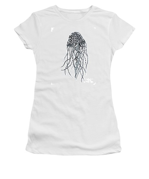 Women's T-Shirt (Junior Cut) featuring the drawing Zen Jellyfish by Tamyra Crossley