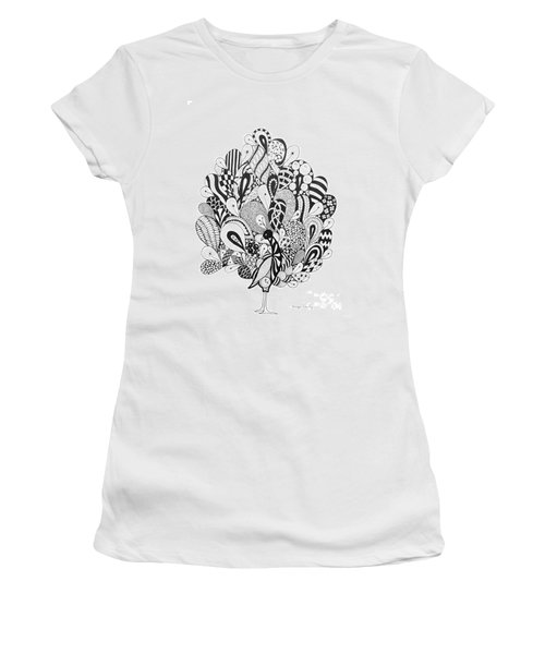 Women's T-Shirt (Junior Cut) featuring the drawing Zen Peacock by Tamyra Crossley