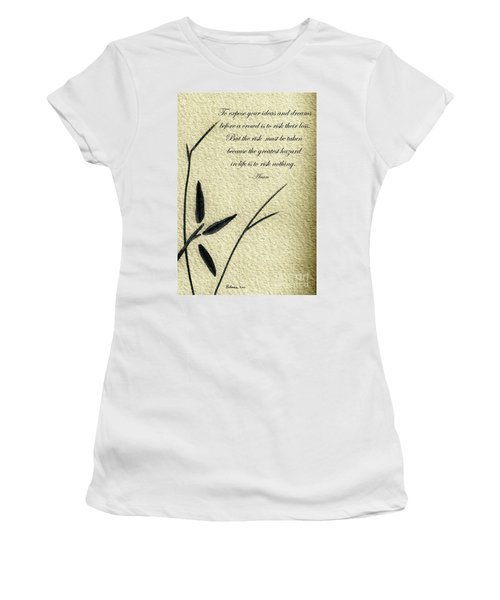 Zen Sumi 4n Antique Motivational Flower Ink On Watercolor Paper By Ricardos Women's T-Shirt