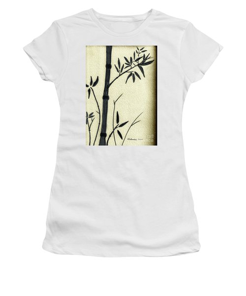 Zen Sumi Antique Bamboo 1a Black Ink On Fine Art Watercolor Paper By Ricardos Women's T-Shirt