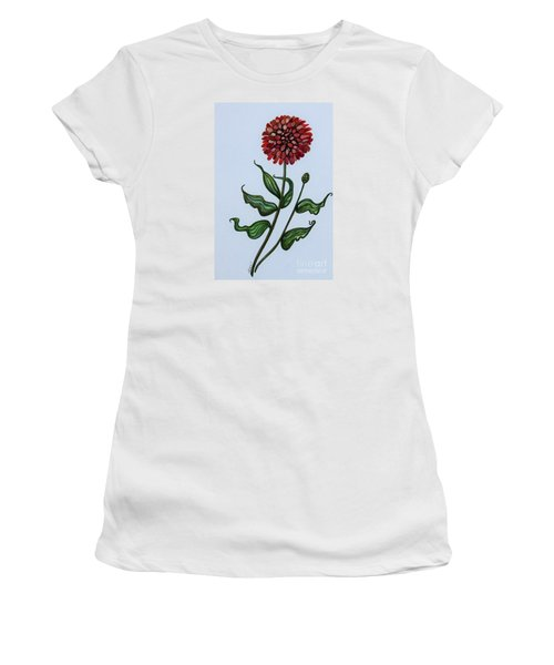 Women's T-Shirt (Junior Cut) featuring the painting Zinnia Botanical by Elizabeth Robinette Tyndall
