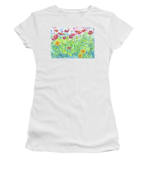 Women's T-Shirt (Junior Cut) featuring the painting Zinnias  by Cathie Richardson