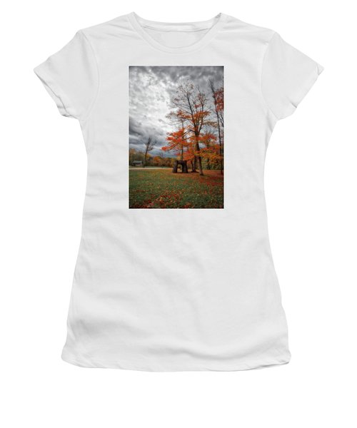 Women's T-Shirt (Athletic Fit) featuring the photograph An Autumn Day At Chestnut Ridge Park by Guy Whiteley