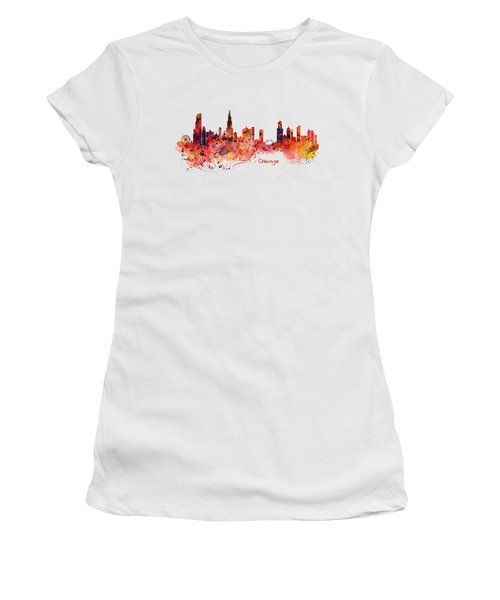 Chicago Watercolor Skyline Women's T-Shirt