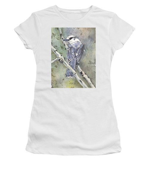 Women's T-Shirt featuring the painting Grey Jay by Ruth Kamenev