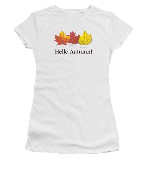 Women's T-Shirt featuring the digital art Hello Autumn by Jeff Folger