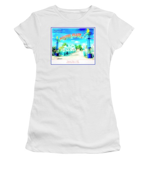 Pleasure Island Sign And Walkway Downtown Disney Women's T-Shirt