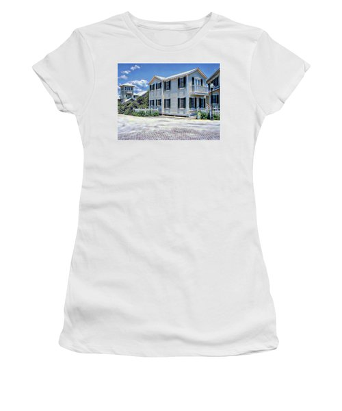 Women's T-Shirt (Athletic Fit) featuring the photograph Seaside Village by Anthony Dezenzio