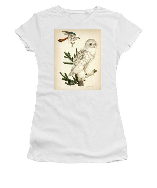 1. Snow Owl. 2. Male Sparrow-hawk. Women's T-Shirt