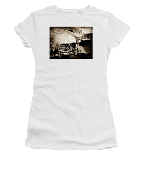 Women's T-Shirt featuring the photograph 1960 Maserati Grille Emblem-1098scl3 by Jill Reger