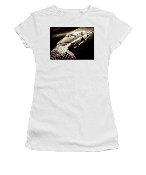 Women's T-Shirt featuring the photograph 1964 Jaguar Mk2 Saloon Hood Ornament And Emblem-1421bscl by Jill Reger