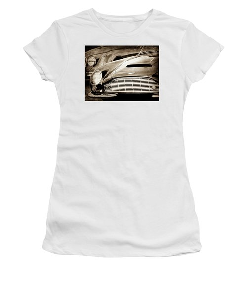 Women's T-Shirt featuring the photograph 1965 Aston Martin Db6 Short Chassis Volante Grille-0970scl by Jill Reger
