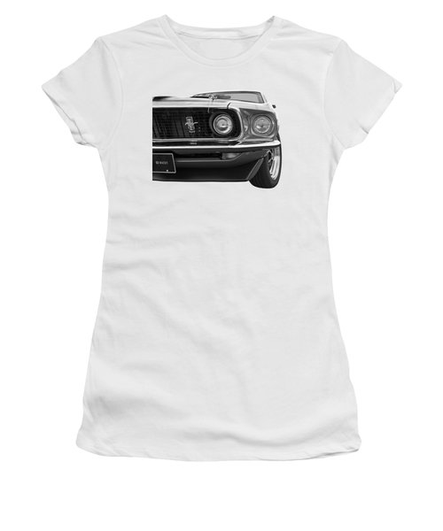 1969 Mustang Mach 1 Black And White Women's T-Shirt (Athletic Fit)