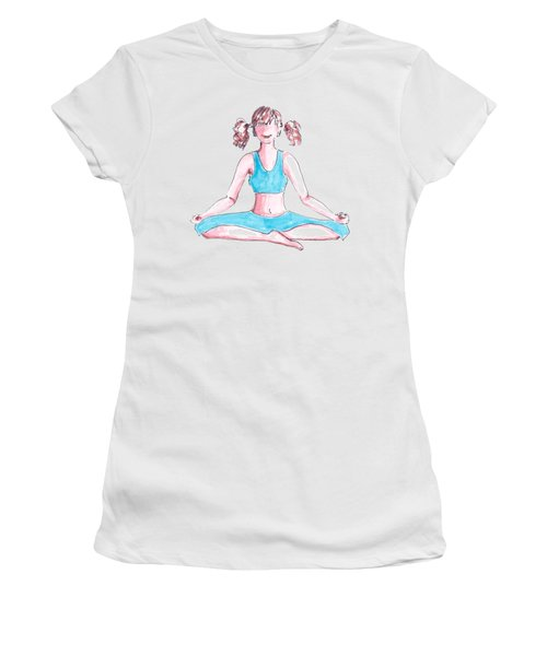 A Girl In Blue Dress Meditates In The Lotus Position. Simply Image Women's T-Shirt