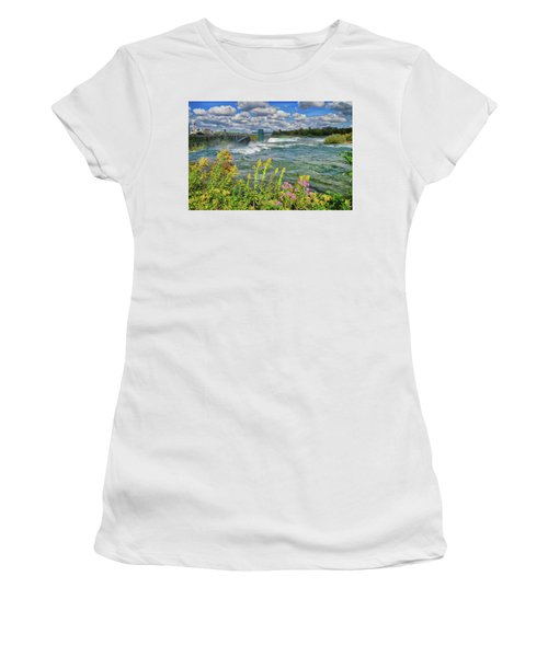 Women's T-Shirt (Athletic Fit) featuring the photograph A Touch Of Summer In Fall At Niagara Falls, New York by Lynn Bauer