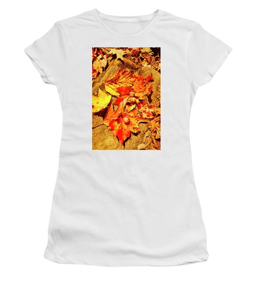 Acorns Fall Maple Oak Leaves Women's T-Shirt (Athletic Fit)