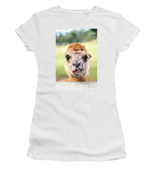 Women's T-Shirt featuring the photograph Alpaca by Rob D Imagery