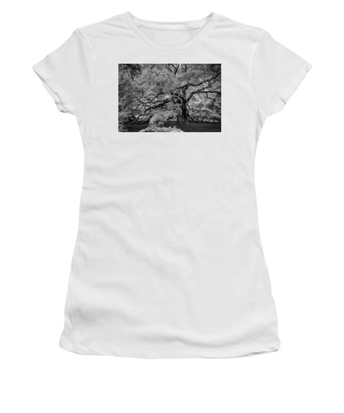 Women's T-Shirt (Athletic Fit) featuring the photograph Angel Oak Tree Black And White by Rick Berk