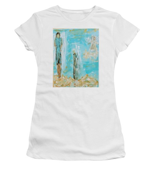 Angels Appear On Golden Clouds Women's T-Shirt