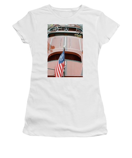 Antique Wooden Boat With Flag 1303 Women's T-Shirt