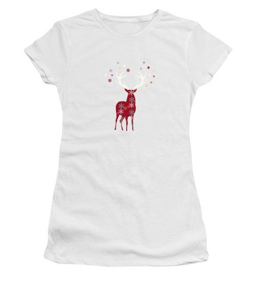 Snowflake Christmas Stag II Women's T-Shirt