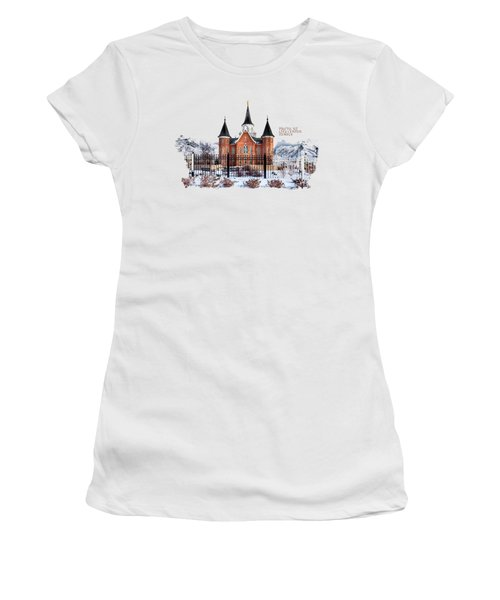 Women's T-Shirt featuring the photograph Provo City Center Temple Canvas Print, Photographic Print, Art Print, Framed Print, Greeting Card, by David Millenheft