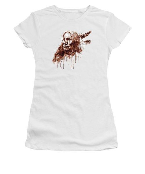 Native American Portrait Sepia Tones Women's T-Shirt
