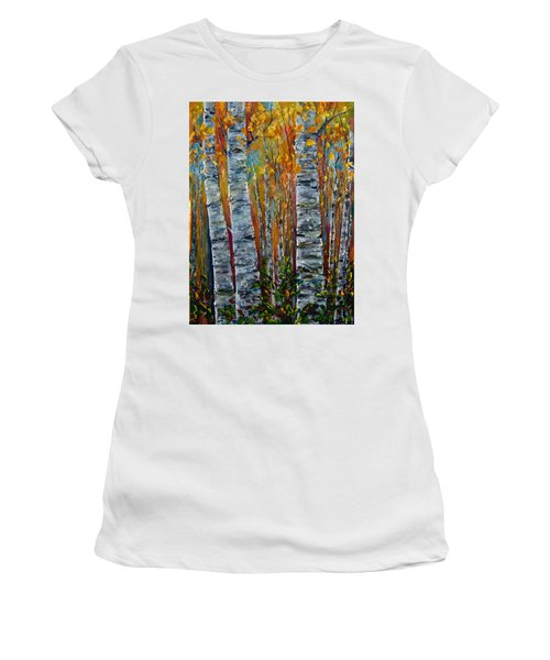 Women's T-Shirt (Athletic Fit) featuring the photograph Aspen Trees By Olena Art by OLena Art