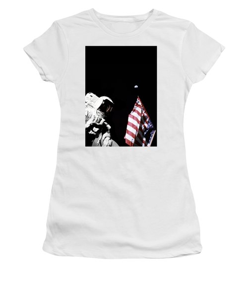 Astronaut With American Flag On The Moon Women's T-Shirt
