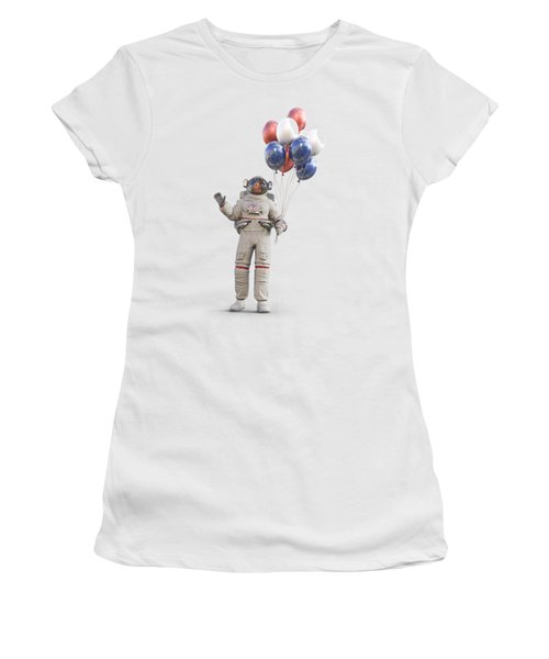Astronaut With Happy Balloons  Women's T-Shirt