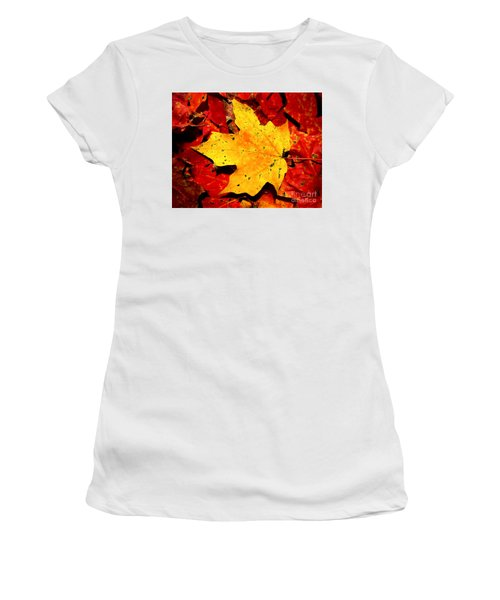 Autumn Beige Yellow Leaf On Red Leaves Women's T-Shirt