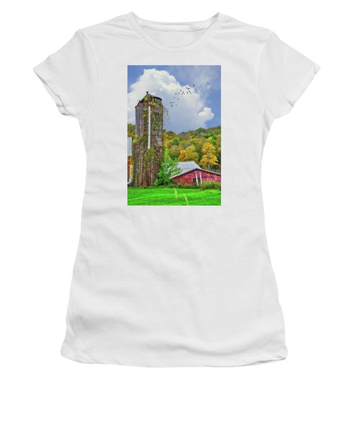 Women's T-Shirt (Athletic Fit) featuring the photograph Autumn Bliss On The Farm - Finger Lakes, New York by Lynn Bauer