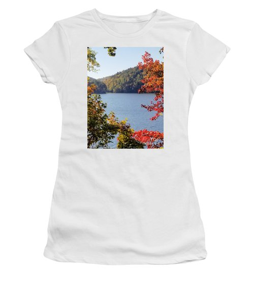 Women's T-Shirt (Athletic Fit) featuring the photograph Autumn On The Lake by Rachel Hannah