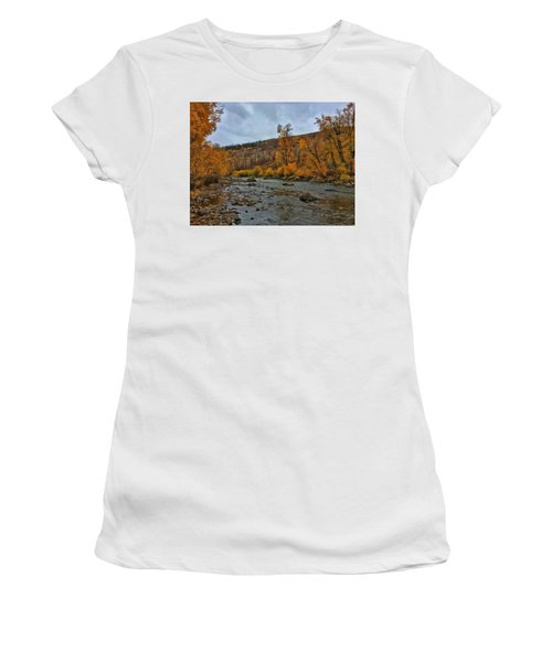 Women's T-Shirt featuring the photograph Autumn On The Yampa River by Dan Miller