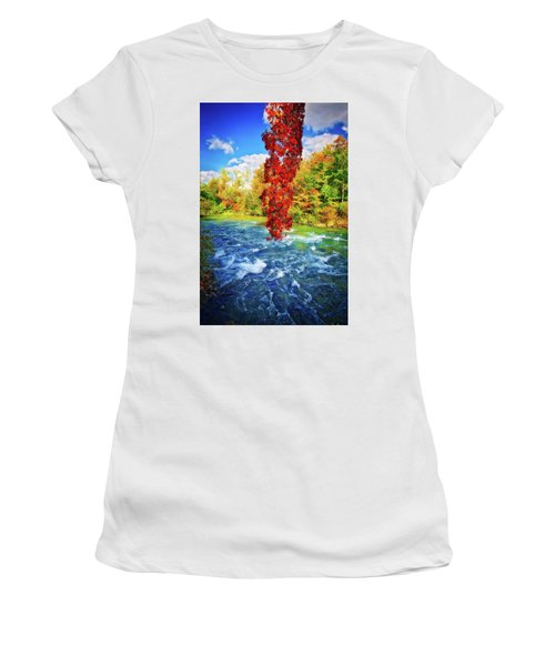 Women's T-Shirt (Athletic Fit) featuring the photograph Autumn's Flame - Niagara Falls, New York by Lynn Bauer