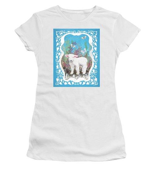Baby Lamb With White Butterflies Women's T-Shirt