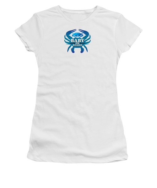 Baby On Board, Blue Crab Women's T-Shirt (Athletic Fit)