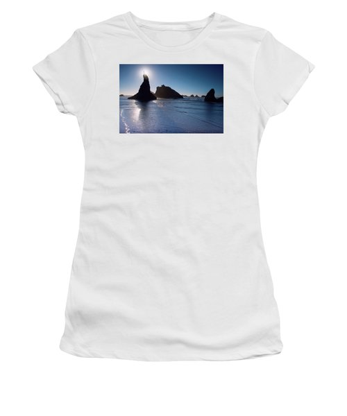 Women's T-Shirt (Athletic Fit) featuring the photograph Bandon Oregon Beach Stroll 102018 by Rospotte Photography