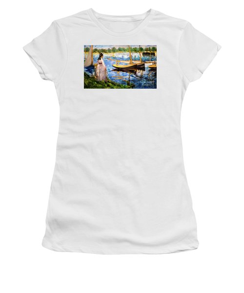 Banks Of The Seine At Argenteuil Women's T-Shirt