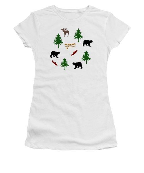 Bear Moose Pattern Women's T-Shirt