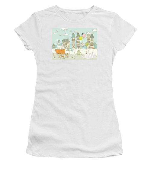 Women's T-Shirt featuring the painting Bears And Mice Outside The City Cute Whimsical Kids Art by Matthias Hauser