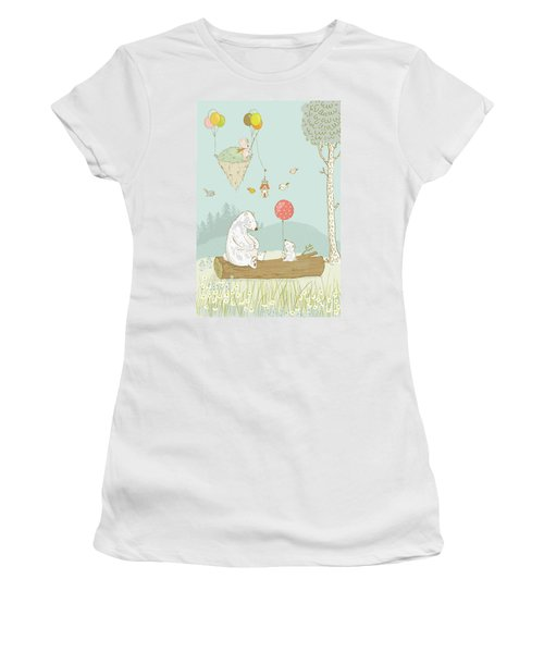 Women's T-Shirt featuring the painting Bears Relaxing And A Floating Island In The Sky by Matthias Hauser