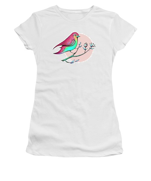 Beautiful Spring Morning Bird And Flowers Women's T-Shirt (Athletic Fit)