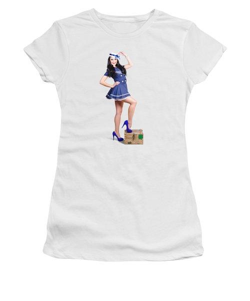Beautiful Vintage Navy Woman. Retro Pinups Women's T-Shirt