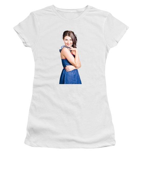Beautiful Woman Wearing Denim Dress Retro Fashion Women's T-Shirt