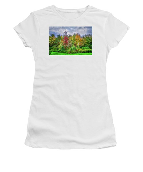 Women's T-Shirt (Athletic Fit) featuring the photograph Beauty In The Fall Forest by Lynn Bauer