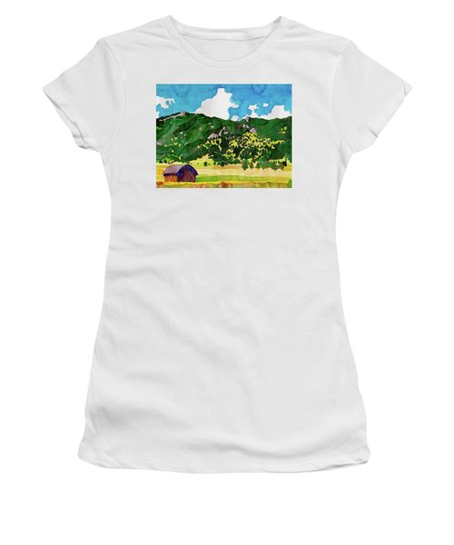 Women's T-Shirt featuring the painting Bergen Peak Summer Watercolor by Dan Miller